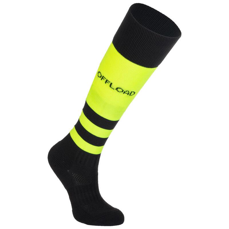 Chaussettes hautes de rugby enfant R500 jaune / noir