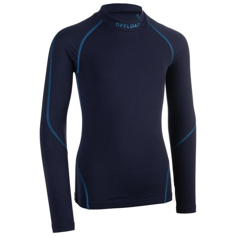 R500JR Kids' Rugby Long-Sleeved Base Layer - Blue