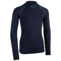 Camiseta Térmica de Rugby Offload R500 Manga Larga Júnior Azul