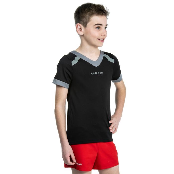 Rugbytrikot R100 Kinder schwarz