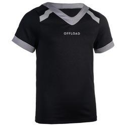 Kids' Short-Sleeved Rugby Shirt R100 - Black