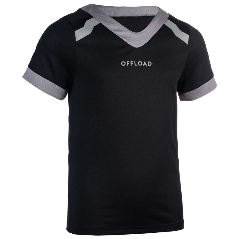 APPAREL RUGBY JUNIOR Rugby - Junior black R100 jersey OFFLOAD - Rugby Clothing