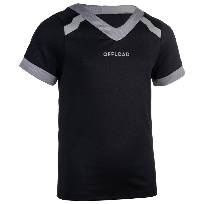DĚTSKÉ RAGBYOVÉ OBLEČENÍ Ragby - DĚTSKÝ DRES R100 ČERNÝ OFFLOAD - Oblečení na ragby