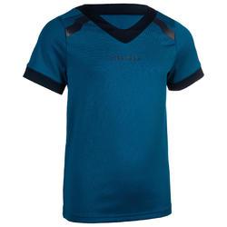 Rugbyshirt met korte mouwen voor kinderen R100 blauw