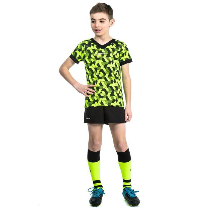 Rugbyshirt voor kinderen R100 geel/zwart