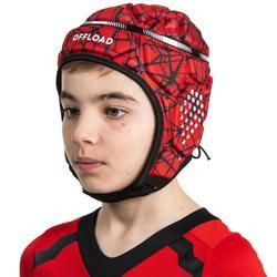 Kopfschutz Rugby R500 Kinder rot/schwarz