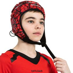 Casque rugby 500 junior rouge/noir