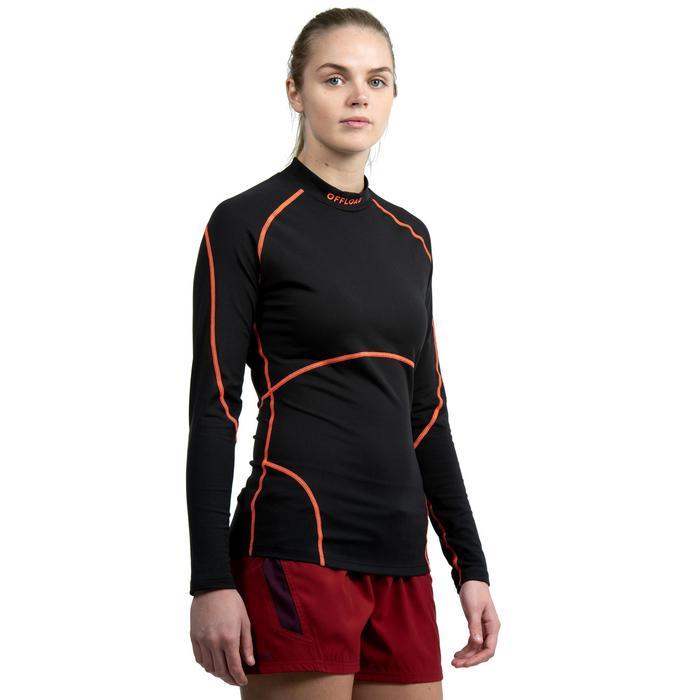 Langarm-Funktionsshirt Rugby R500 Damen schwarz/korallrot