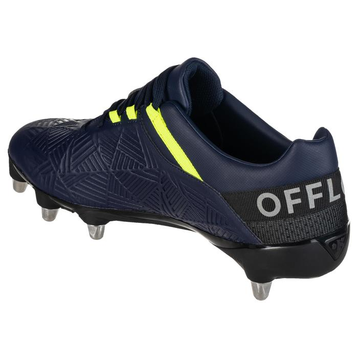 Rugbyschoenen voor drassig terrein 8 noppen Density R500 SG blauw/geel