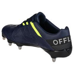 chaussures de rugby terrains gras 8 crampons Density R500 SG bleue jaune
