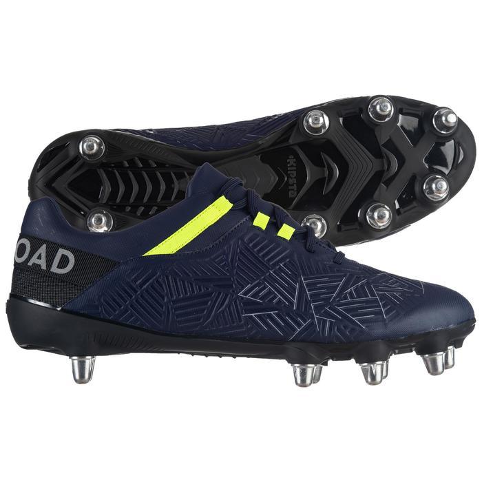 Rugbyschoenen Density R500 SG met 8 noppen voor drassig terrein blauw/geel
