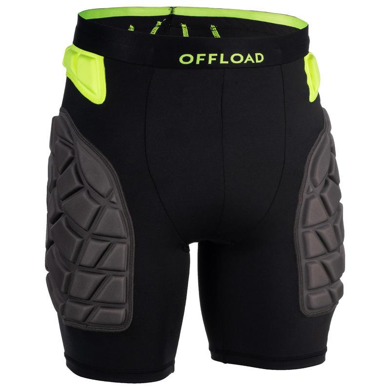 Short de protección Rugby Offload R500 hombre negro y amarillo