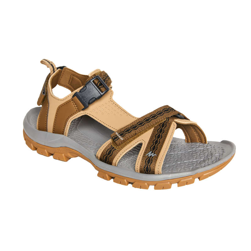 MEN HIKING SANDALS/SHOES WARM WEAT - NH110 Mens Walking Sandals - Beige/Blue