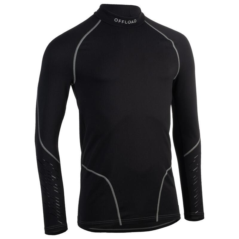 Bluză Rugby R500 Negru Adulţi