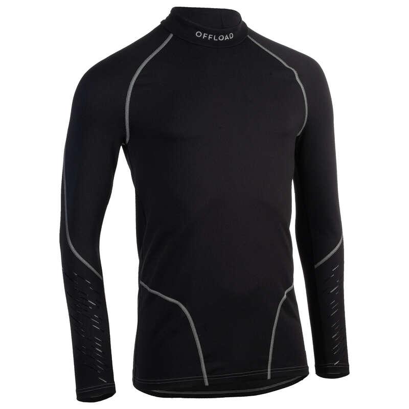 ÎMBRĂCĂMINTE RUGBY VREME PLOIOASĂ Imbracaminte - Bluză Rugby 500 Negru Bărbați  OFFLOAD - Imbracaminte