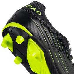 Chaussures de rugby moulée terrains secs Skill R500 FG kaki jaune