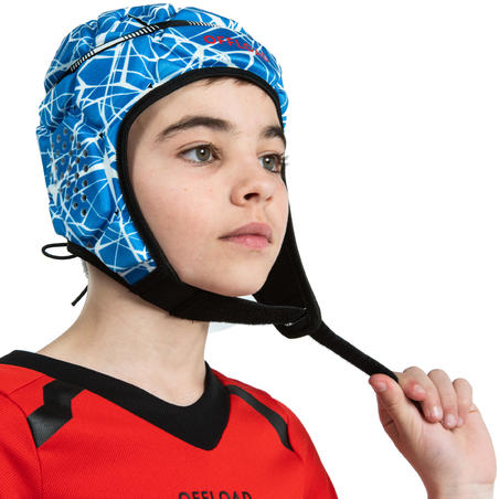 500 Kids' Rugby Scrum Cap - Blue/White