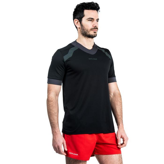 Maillot manches courtes de rugby homme R100 noir