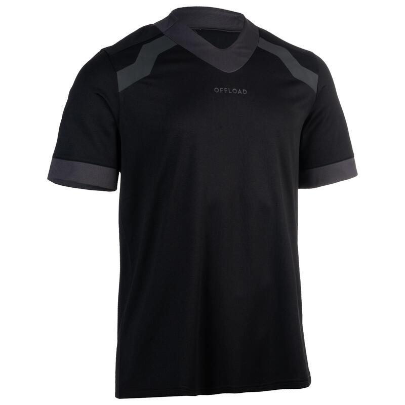 Rugbyshirt met korte mouwen voor heren R100 zwart