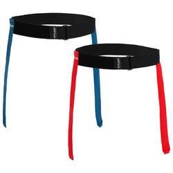 PACK ceintures flag rugby R500 bleu / rouge