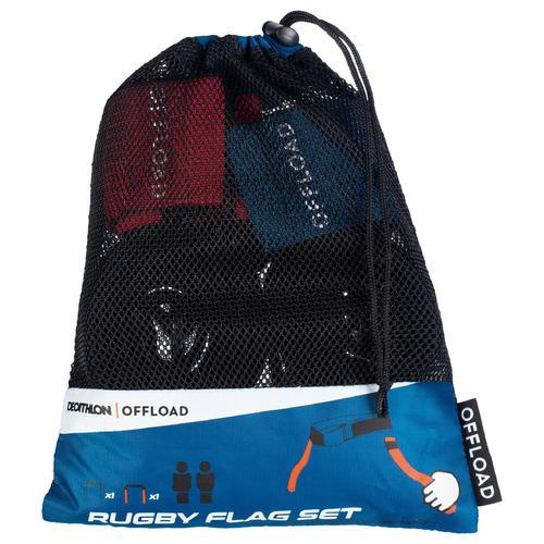 2 ceintures flag rugby R500 bleu / rouge