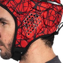Kopfschutz Rugby R500 Erwachsene rot/schwarz