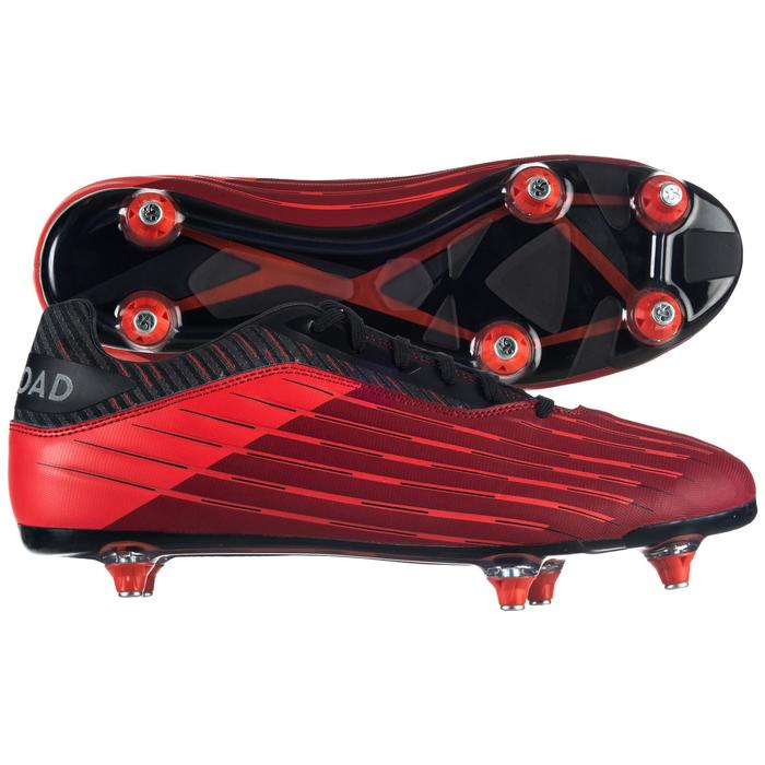 Chaussure de rugby terrains gras Skill R500 SG 6 crampons rouge