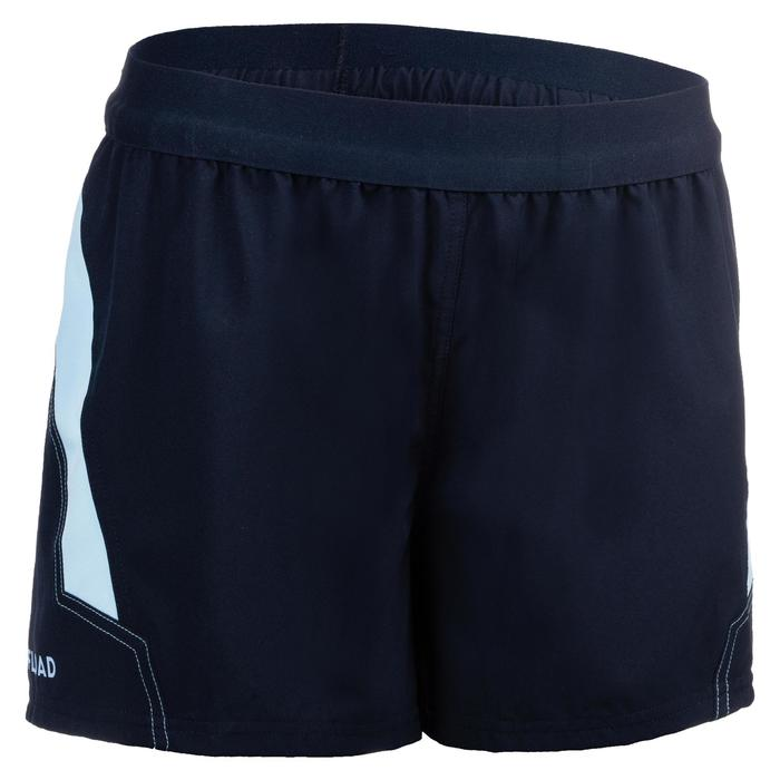 Pantalón corto Rugby R500 Mujer Azul marino Azul claro