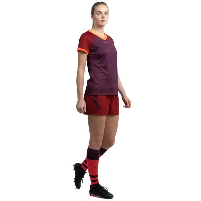 Pantalón corto Rugby Offload R500 Mujer Burdeos y violeta
