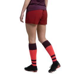 Rugbyshort voor dames R500 bordeaux paars
