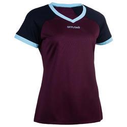 Camiseta rugby R500 mujer ciruela/azul marino