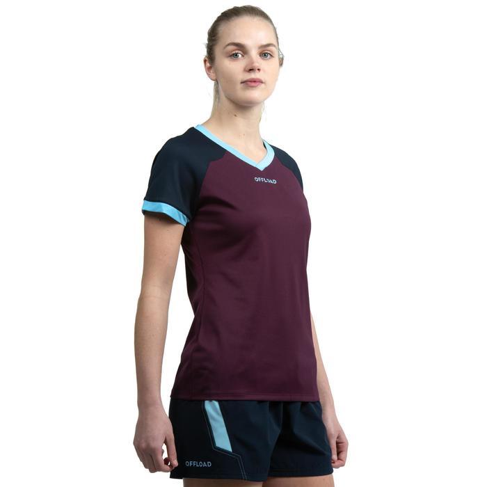 Rugbyshirt voor dames R500 paars/marineblauw