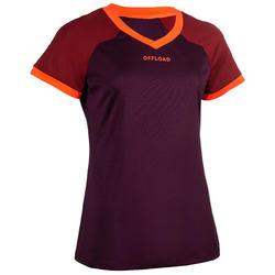 Camiseta rugby R500 mujer ciruela/burdeos