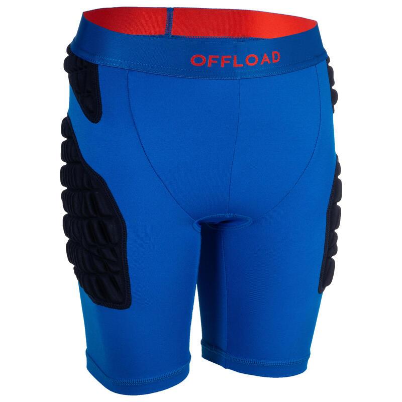 Sous-short de protection rugby R500 enfant bleu