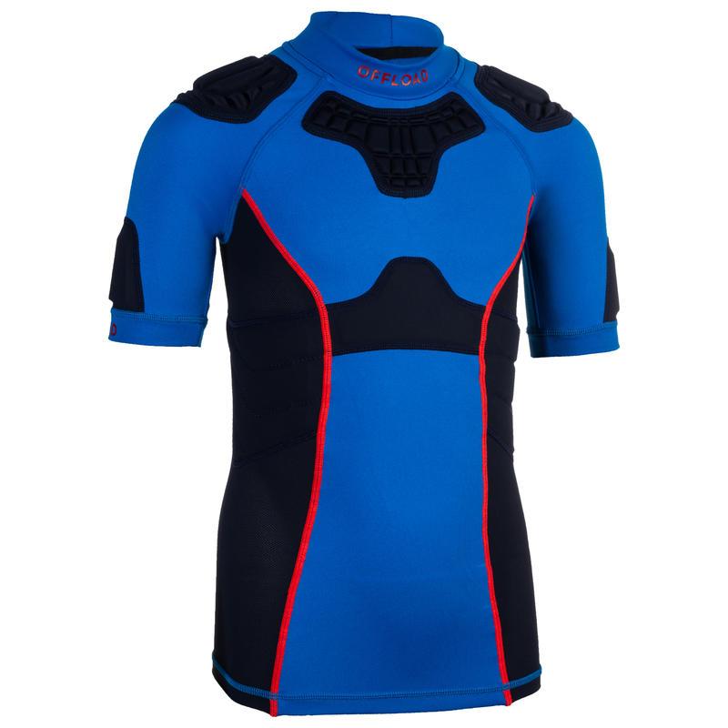 R500 Kids' Rugby Shoulder Pads - Blue