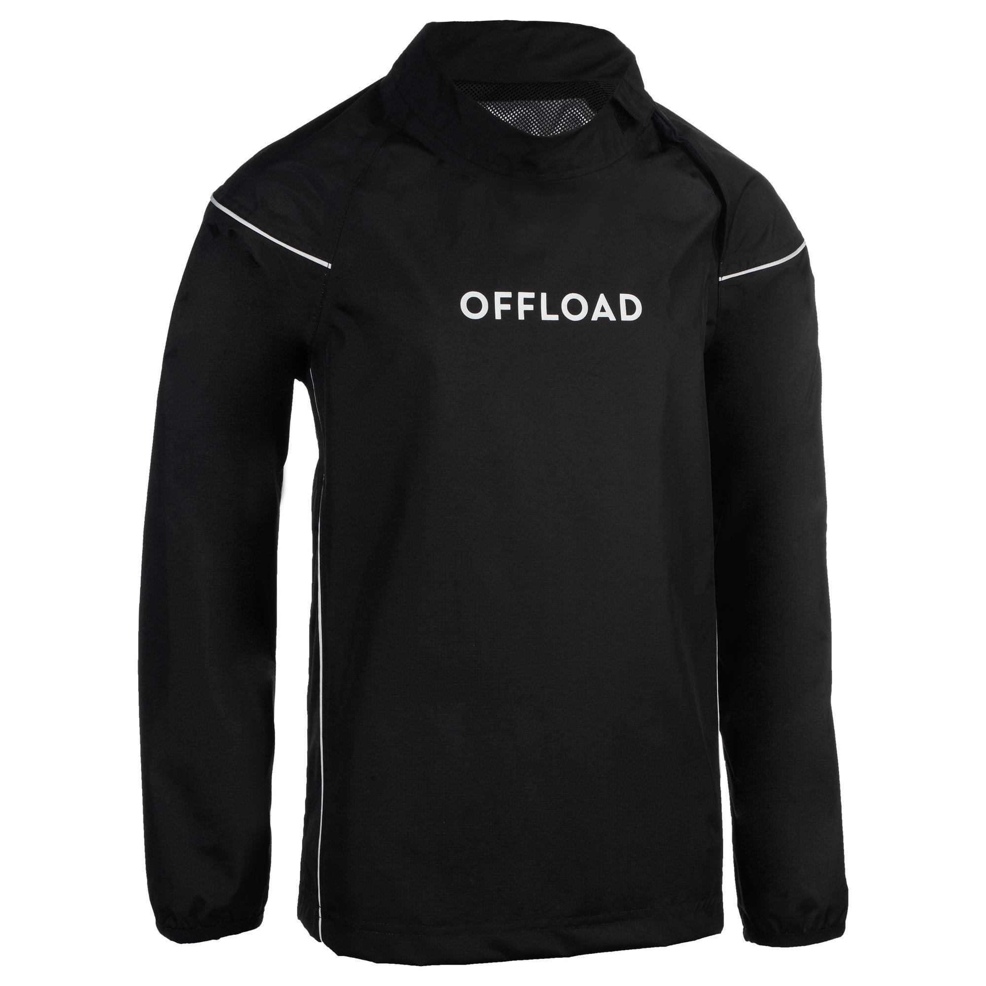 Coupe vent imperméable smocktop pluie de rugby r500 junior noir offload