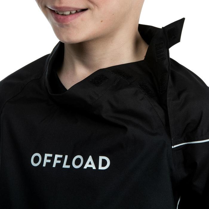 Winddicht regenjack voor rugby kinderen Smocktop R500 zwart