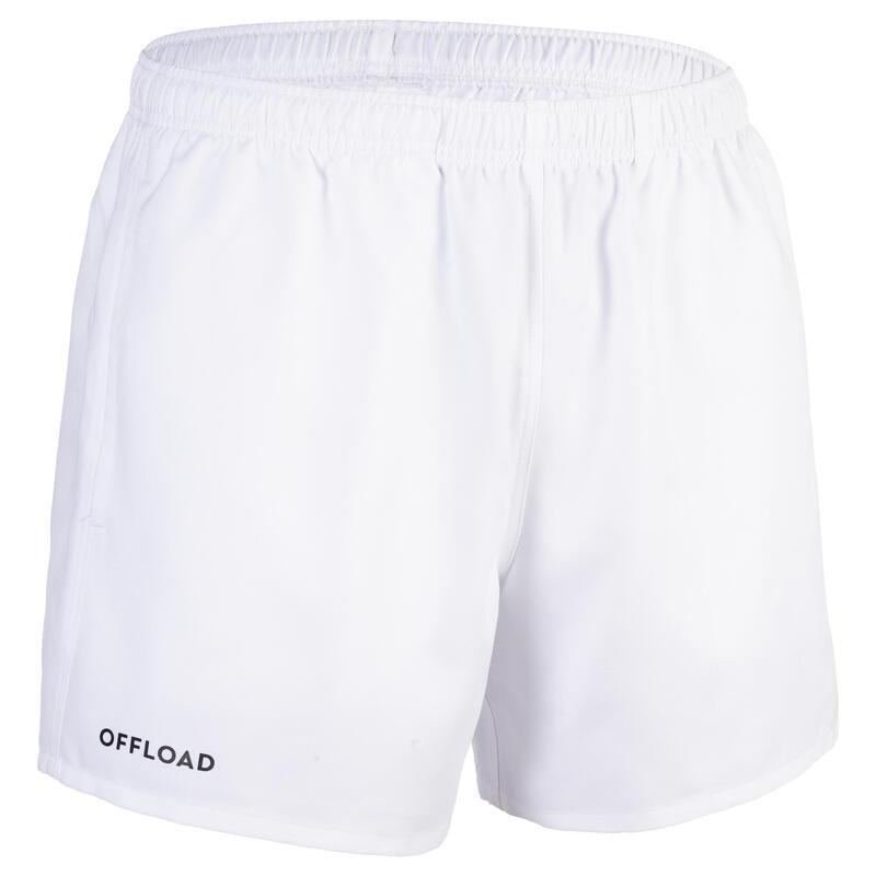 Rugbyshort voor volwassenen Club R100 wit
