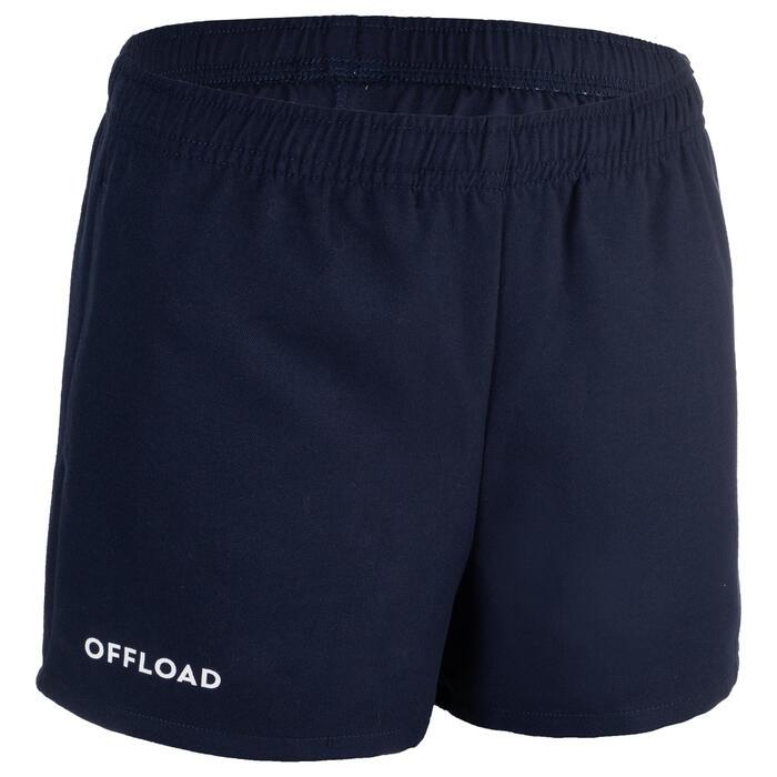 Rugbyshort voor kinderen Club R100 zonder zakken marineblauw