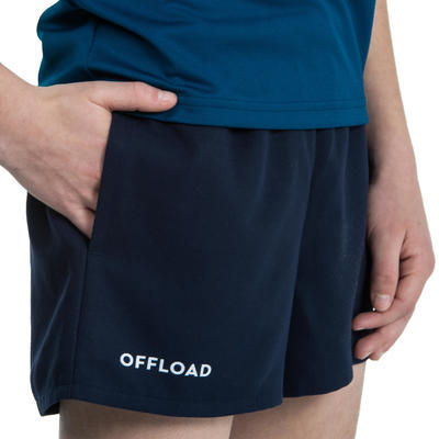 Kids' Rugby Shorts with Pockets R100 - Blue
