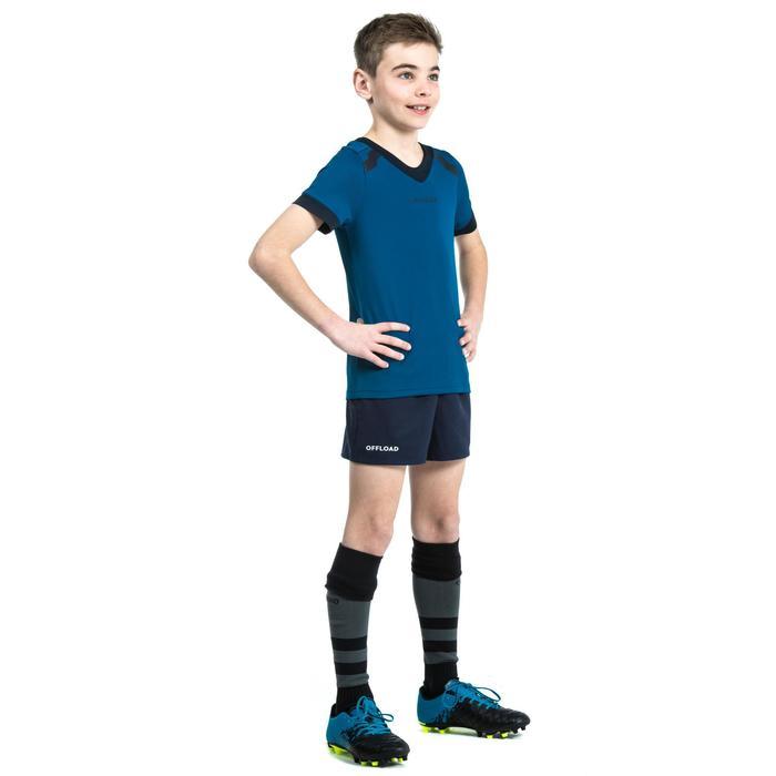 Rugbyshorts R100 mit Taschen Kinder blau