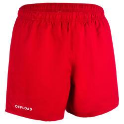 Pantalón corto Rugby Offload R100 sin bolsillos adulto rojo