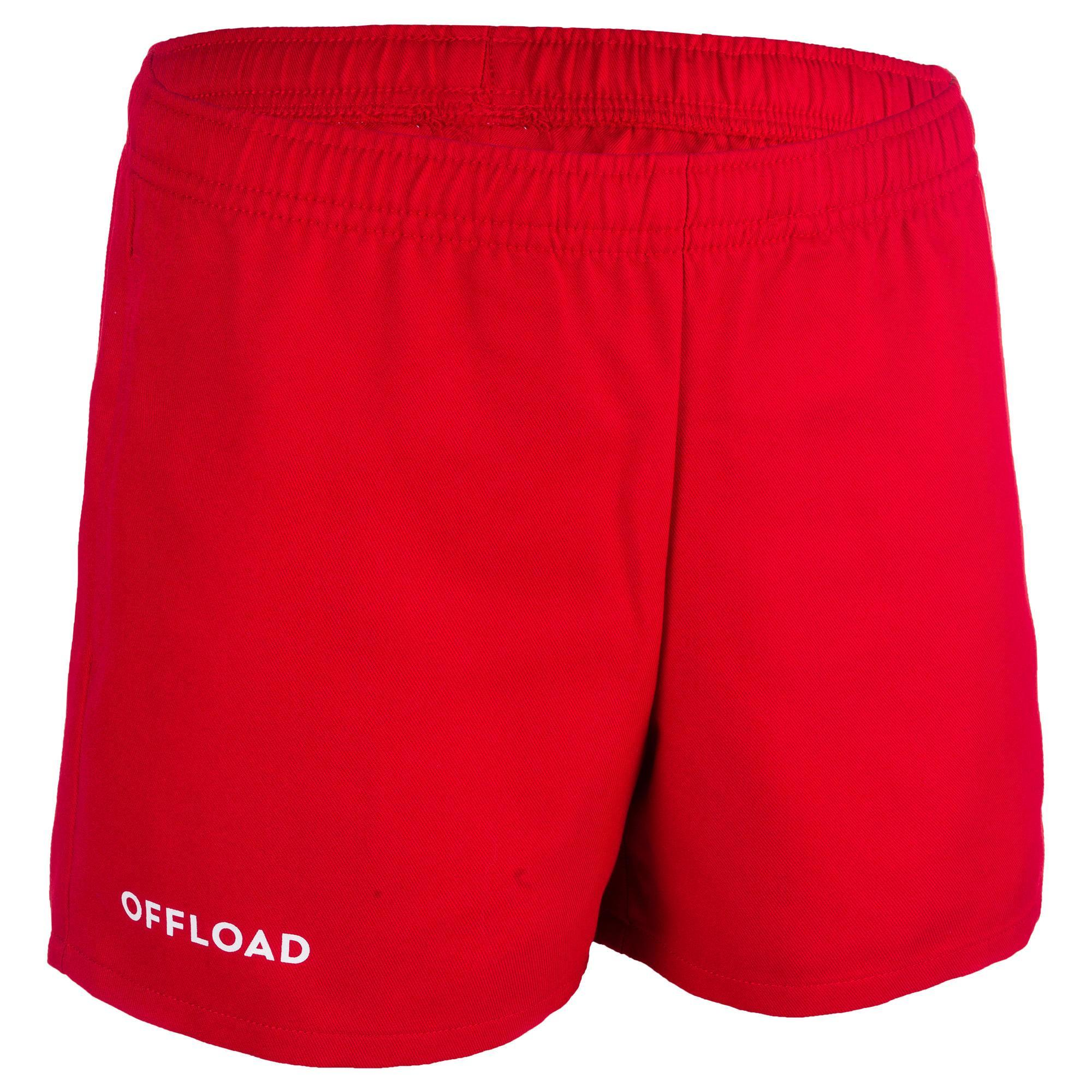 Short de rugby r100 avec poches enfant rouge offload