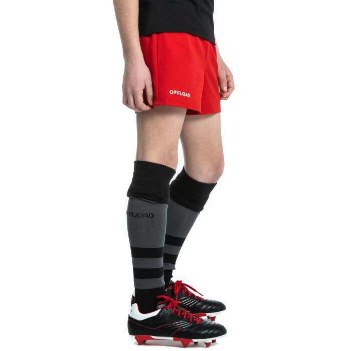 Pantalón corto Rugby Offload R100 sin bolsillos niños rojo