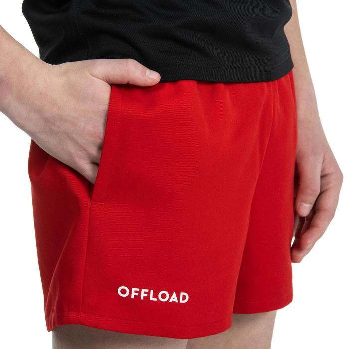 Short de Rugby R100 avec poches enfant rouge
