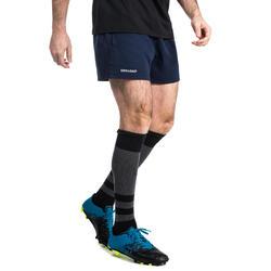 Rugbyshorts R100 mit Taschen Erwachsene blau