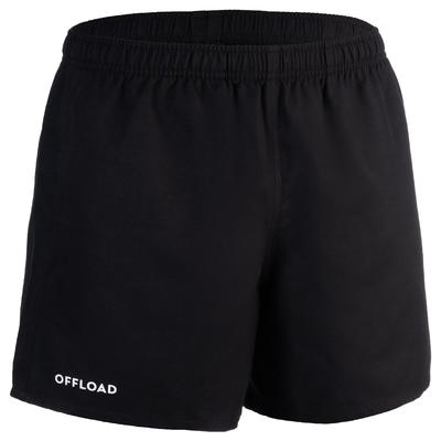 Pantalón corto rugby adulto con bolsillos R100 negro