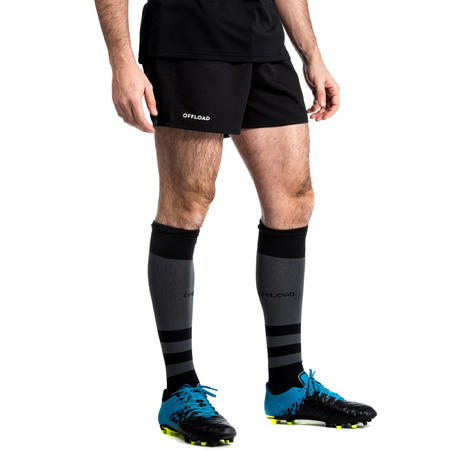 Short rugby adulto con bolsillos R100 negro