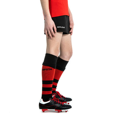 Kids' Rugby Shorts with Pockets R100 - Black