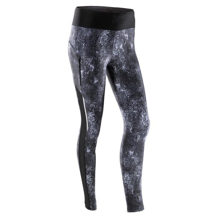 女款慢跑緊身褲Run Dry+ - 黑色礦石灰印花